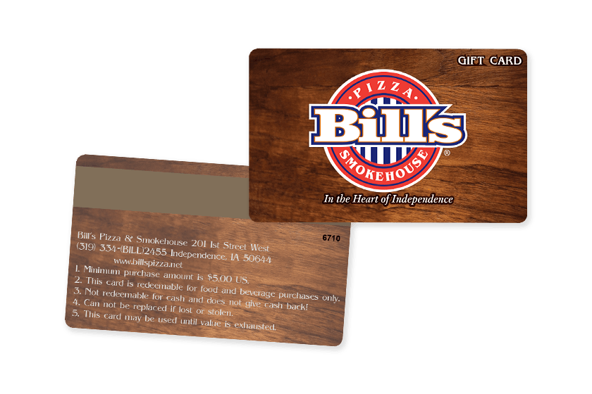Bill's Smokehouse Restaurant Gift Cards with Magnetic Stripe