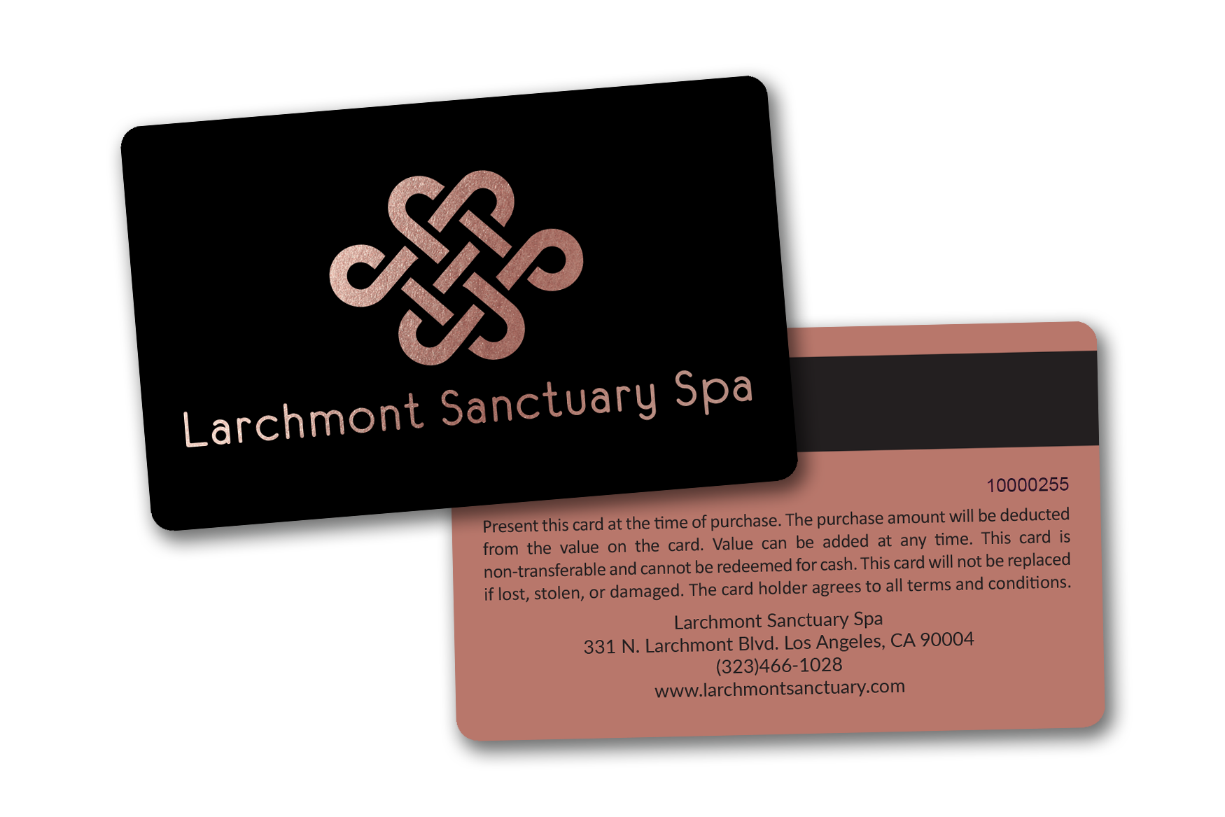 Spa gift card with metallic elements and a mag stripe