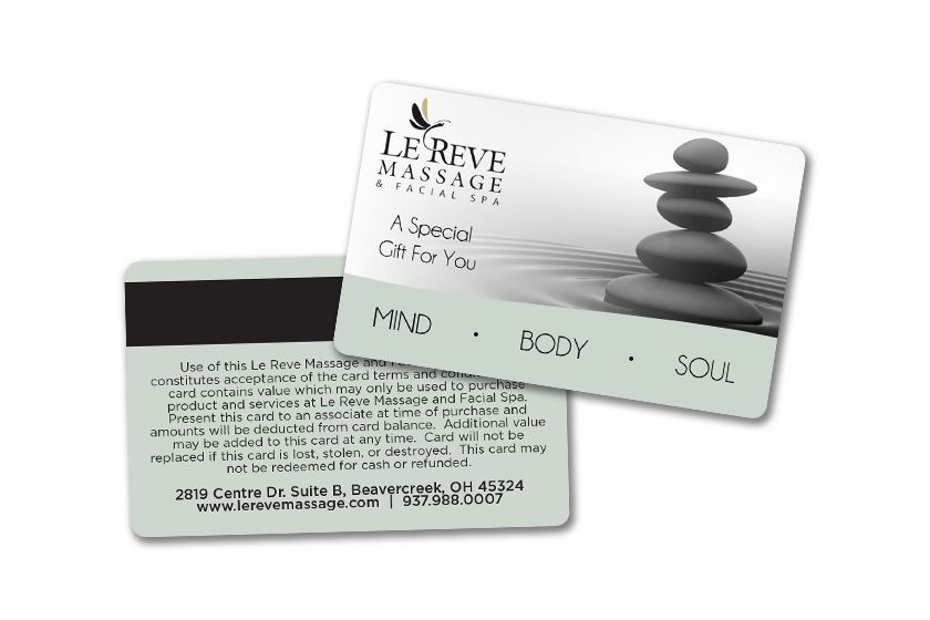 Custom plastic gift cards for a massage business