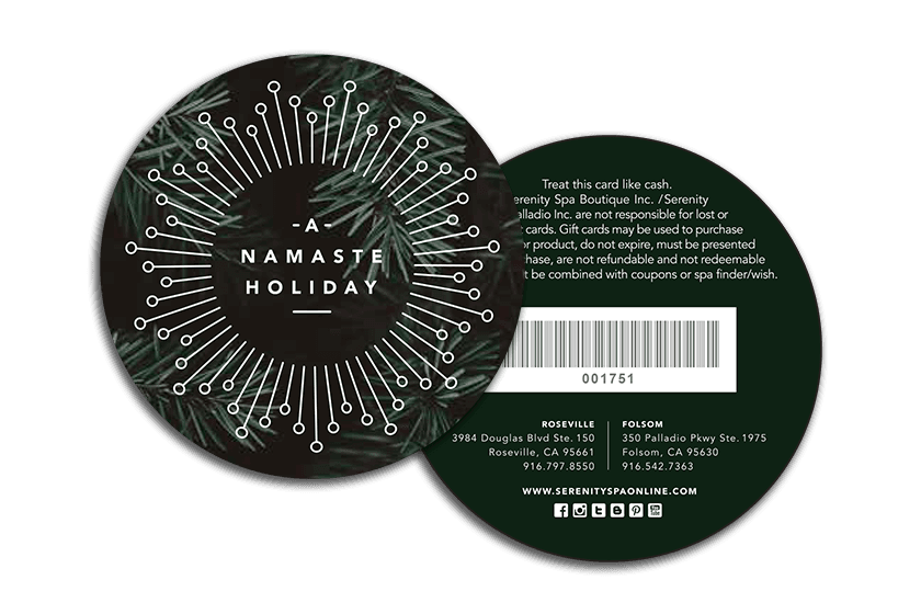 Namaste Spa Circle Gift Cards and Loyalty Cards with Barcode