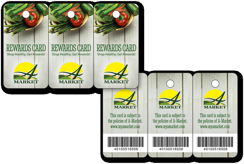 Reward key tags printed on plastic