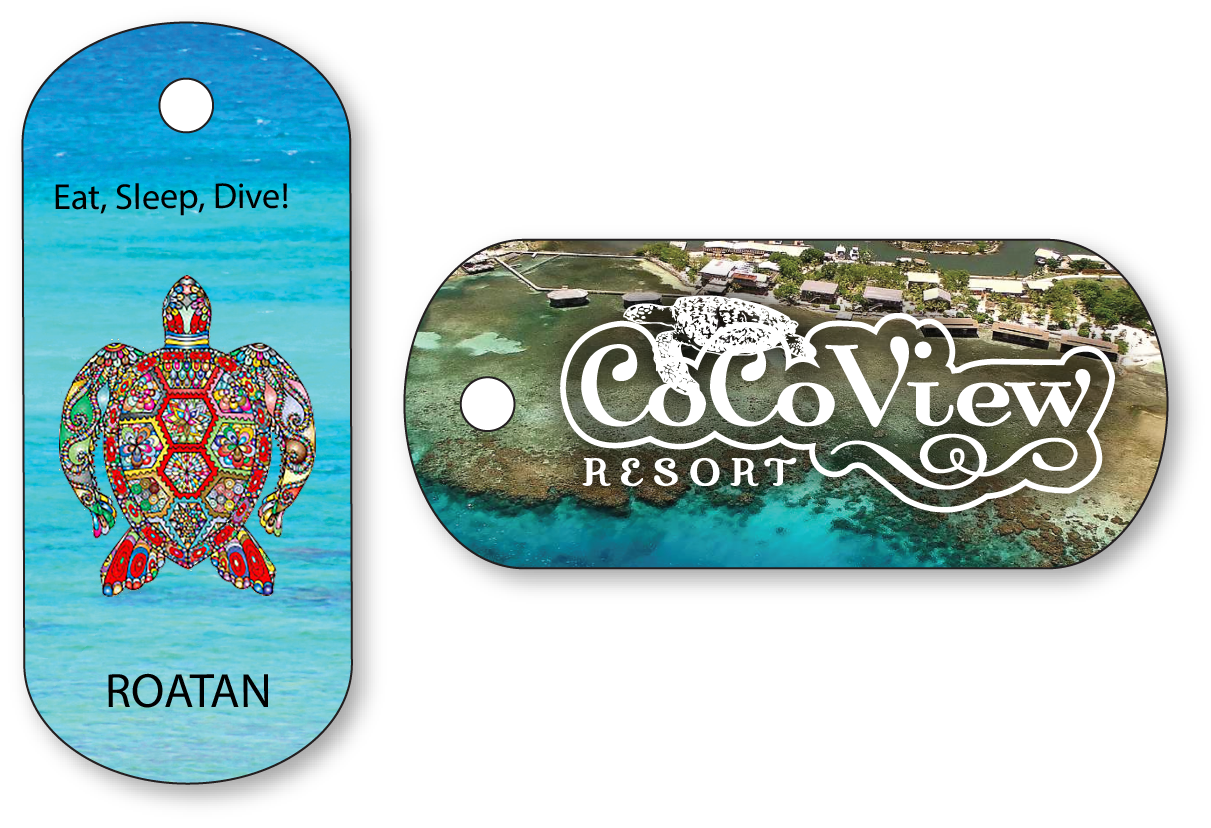 Hotel key tags for a resort