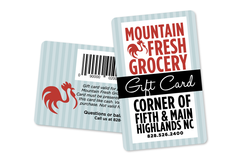 Custom gift cards for a grocery store