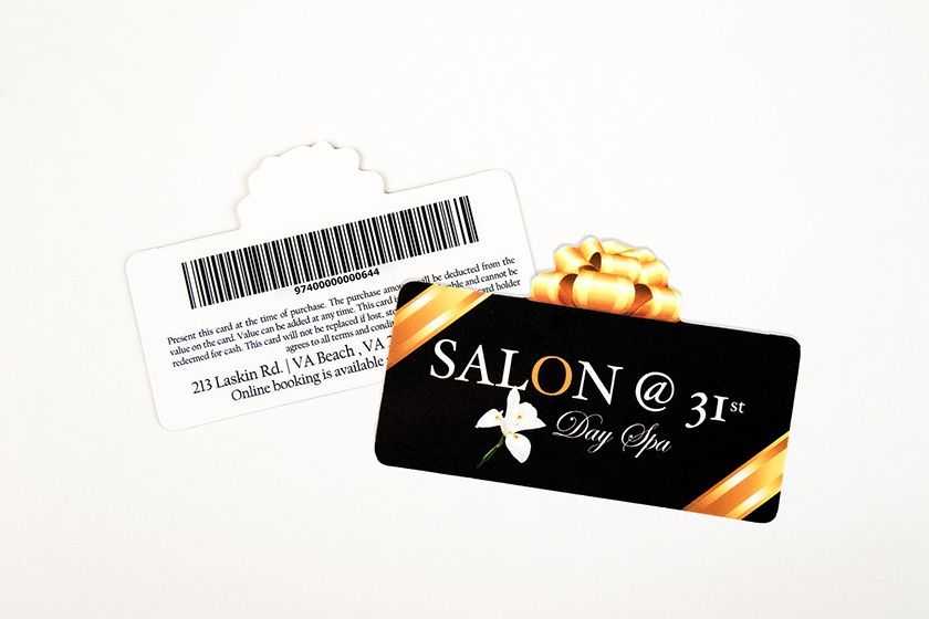 Spa and salon marketing salon at 31st day spa present shaped gift card with a barcode colourmoves