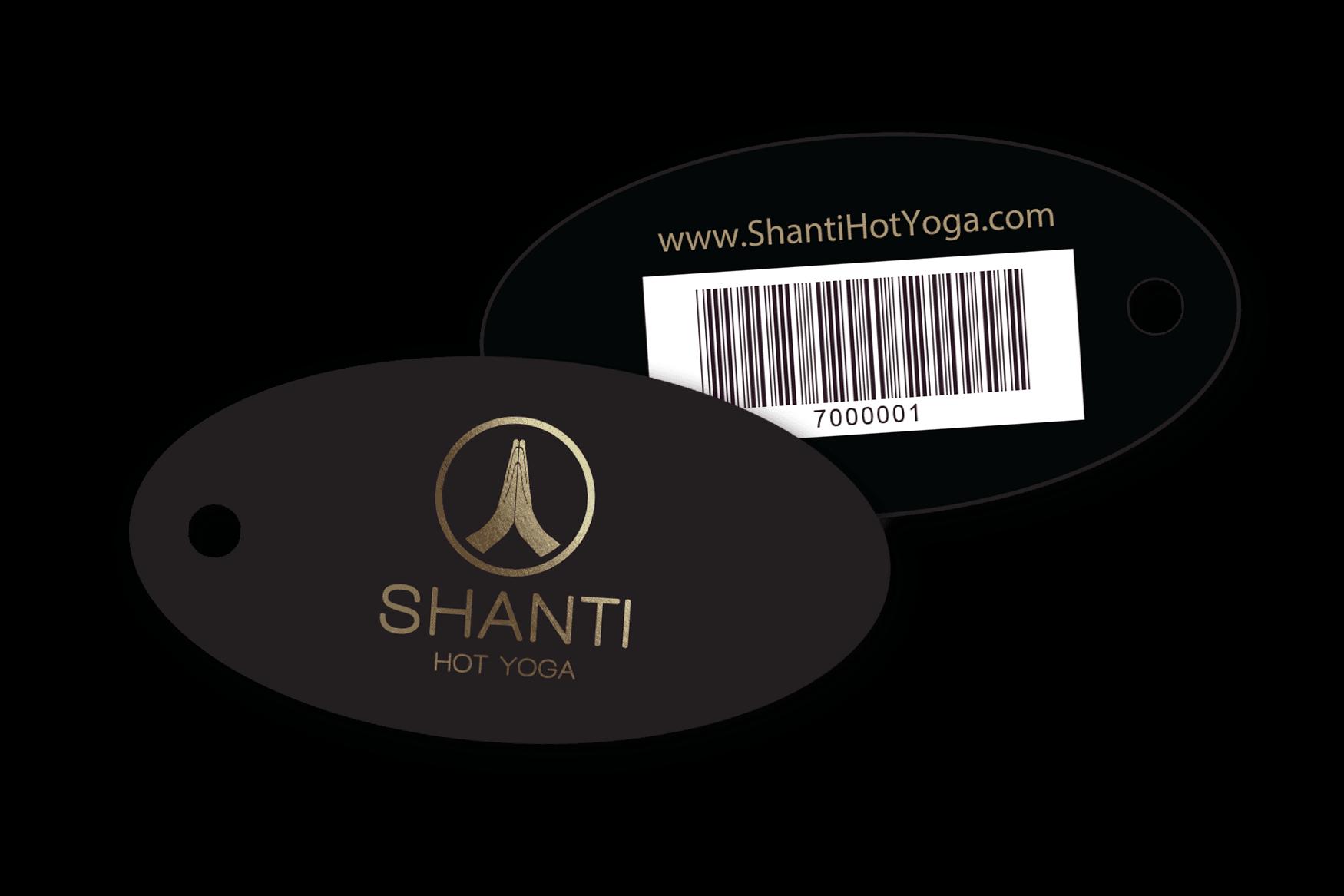 Shanti Hot Yoga Membership Key Tags with Barcode