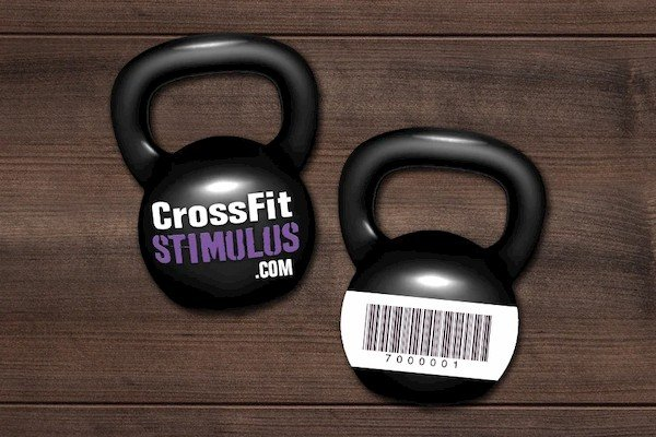 Kettle Bell Shaped Membership Card Key Tags with Barcode