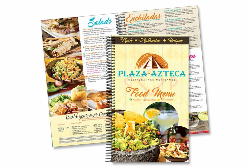 Restaurant Menu Design for Mexican Restaurants - Spiral Binding