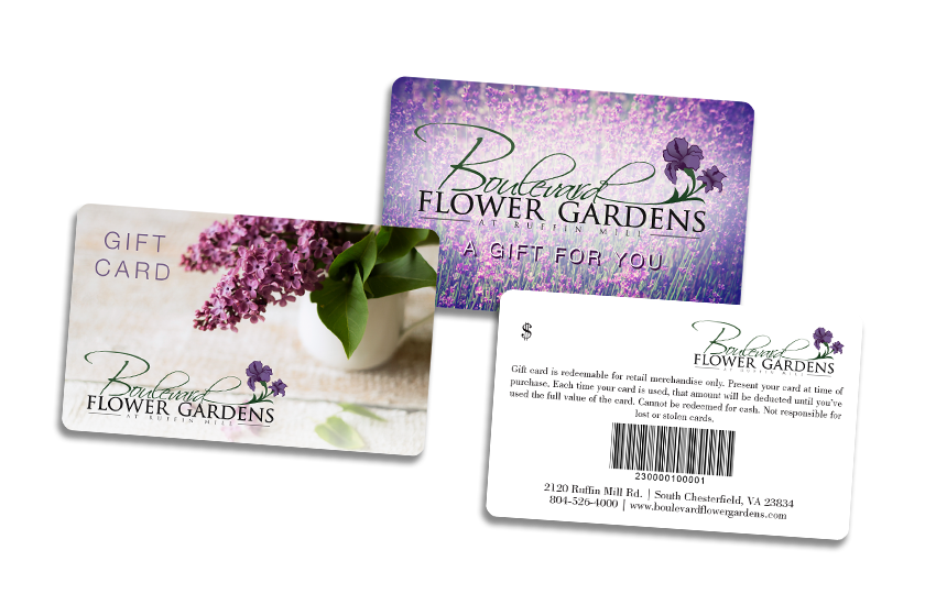 Gift cards with barcodes for a garden center