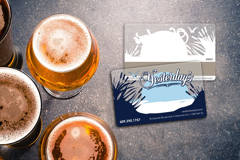 Clear gift cards for a bar and restaurant
