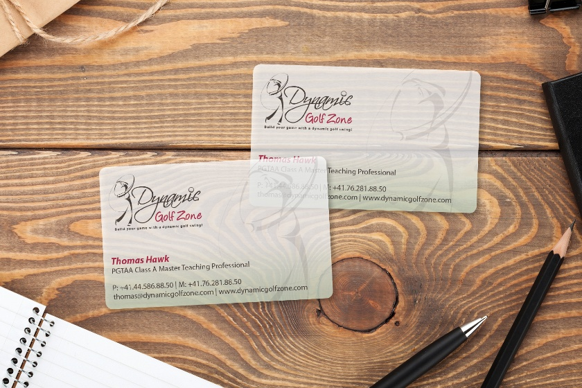 Clear Business Card Design that Highlights the Golf Industry