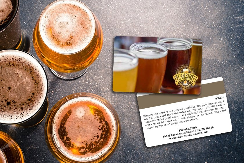 Brewery gift cards with magnetic stripe