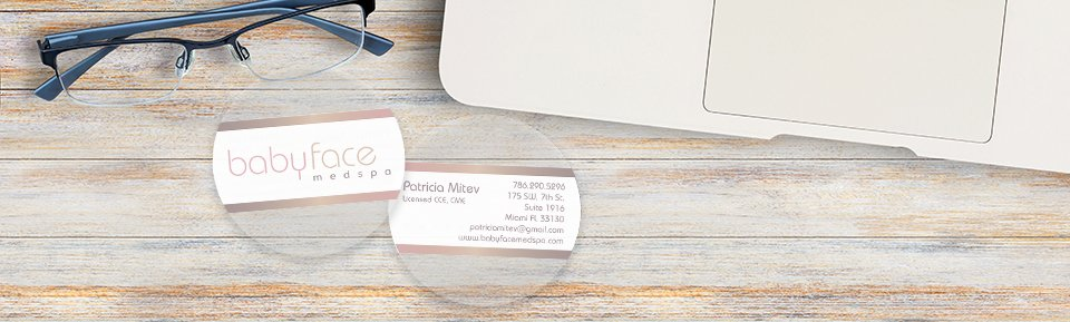 Clear Circle Business Cards for Babyface Medspa