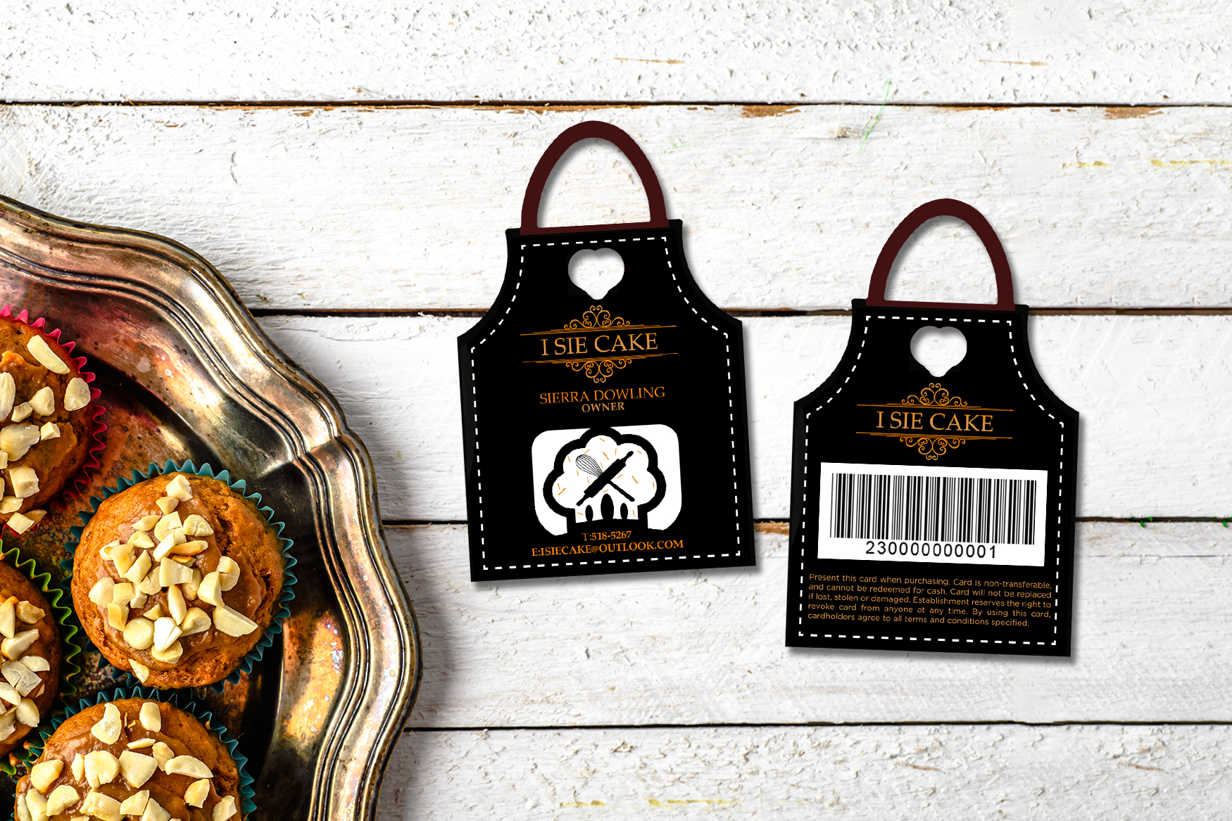Die cut gift cards in the shape of an apron