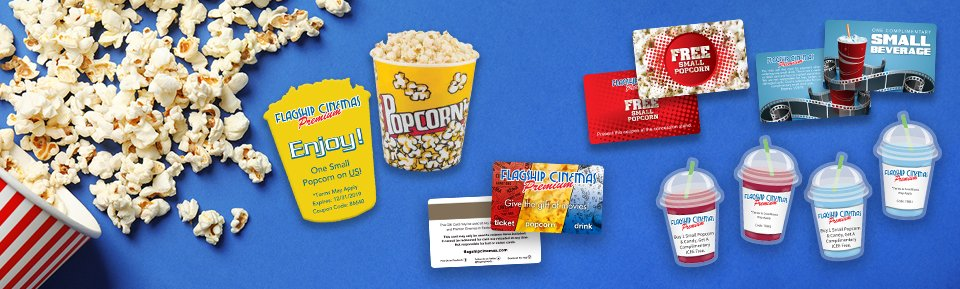 Custom printed marketing materials for Flagship Cinema
