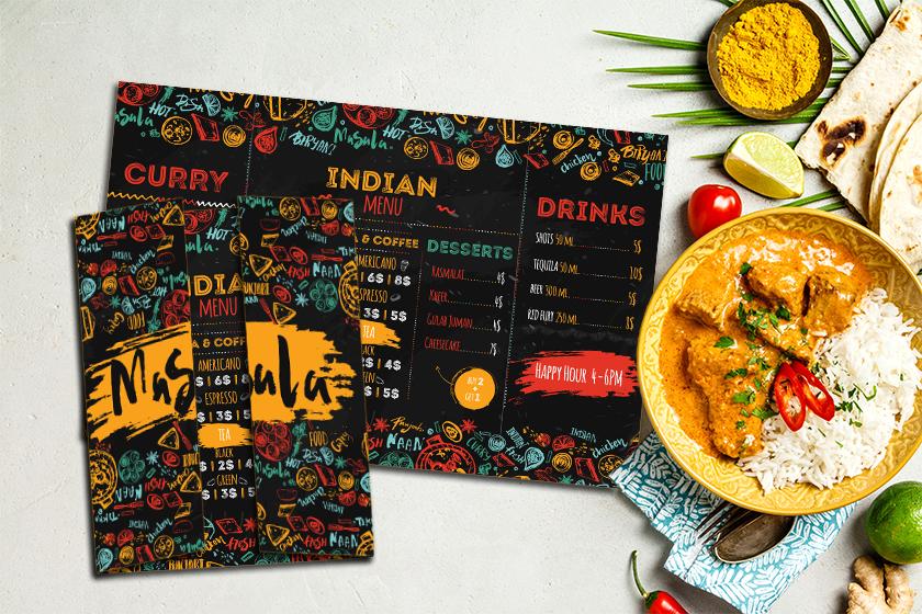 Trifold menu for a restaurant