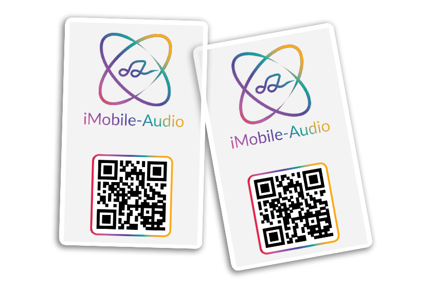 Clear Business Cards with QR Codes for iMobile-Audio