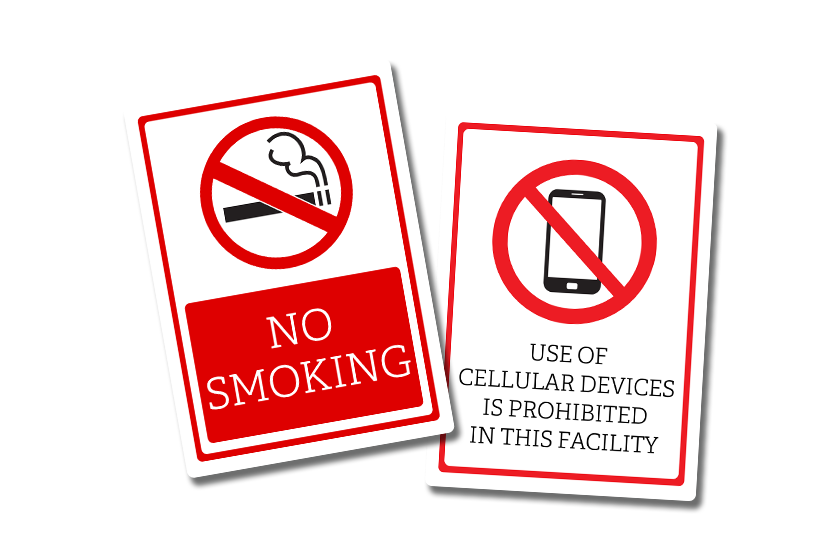No smoking signs for a business