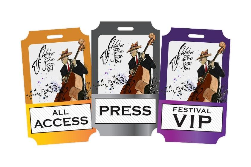 Winter Blues Jazz Festival Press Pass, Clear Transparent VIP and All Access Passes