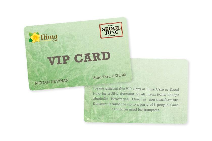 VIP card for a resort and hotel VIP program