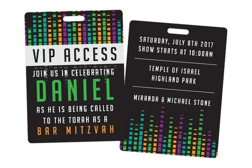 VIP Access Pass for Daniel's Bar Mitzvah - Custom Birthday Invitations