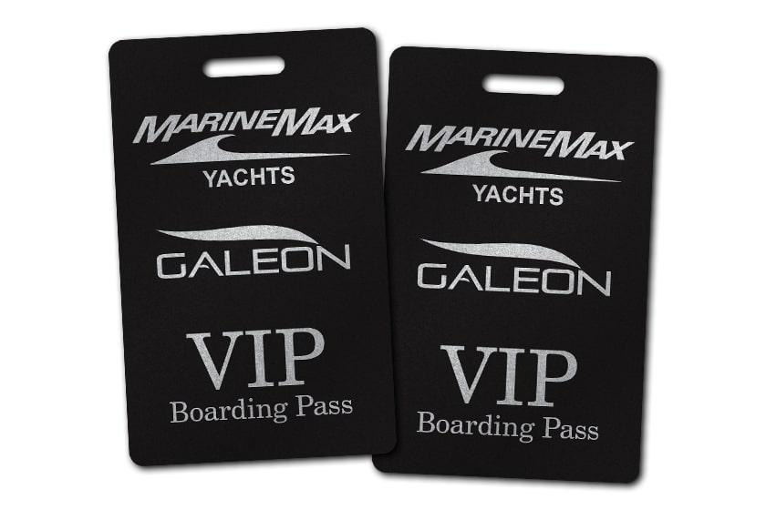 Black Printed VIP Boarding Pass for MarineMax Yachts