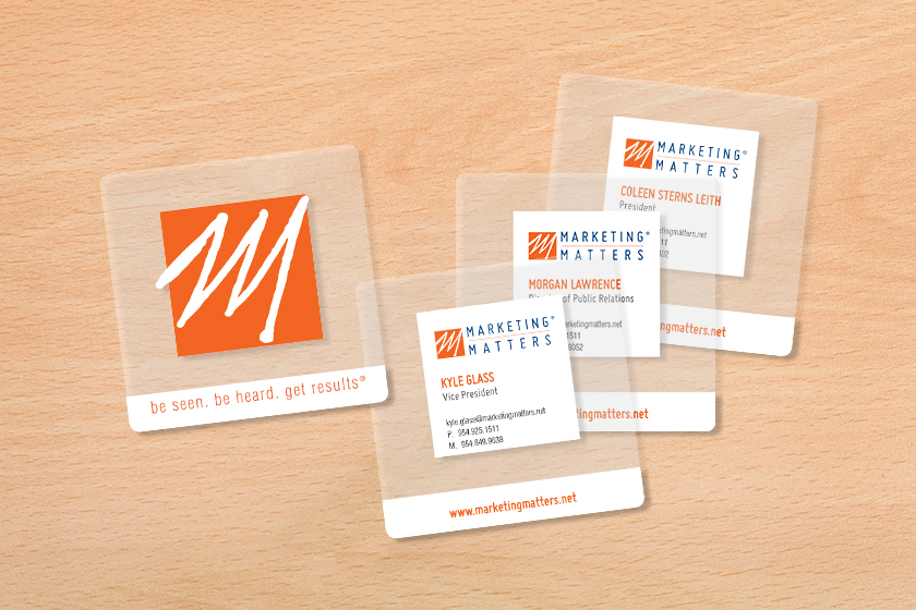 Clear Business Cards In the Shape of a Square