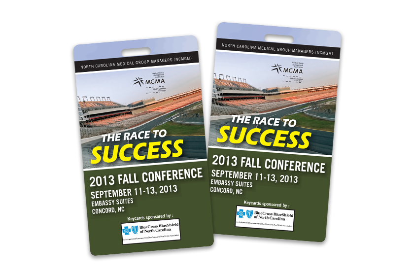The Race to Success 2013 Fall Custom Conference Badges Sponsored by Blue Cross and Blue Shield of North Carolina