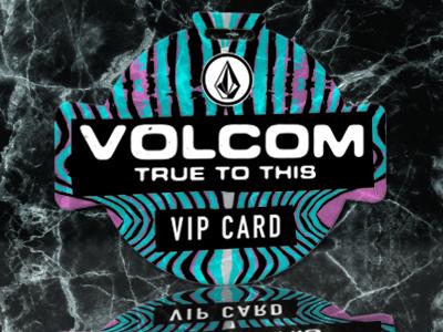 Volcom Custom Shape Die Cut VIP Card with Lanyard Slot