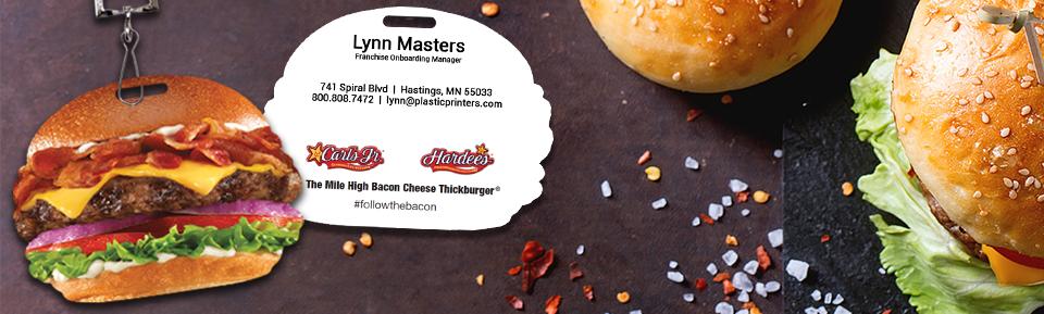 Example of Custom Hamburger Shaped VIP Passes by PlasticPrinters.com