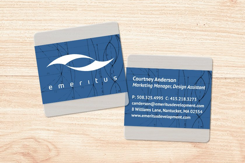Square Frosted Business Card for Emeritus Marketing Firm