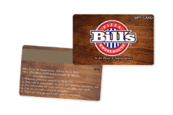 Restaurant gift cards with a magnetic stripe