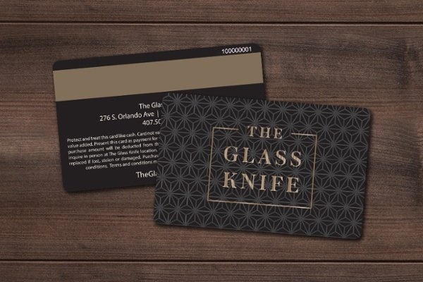 Custom Restaurant Gift Card with Gold Foil and Magnetic Stripe for The Glass Knife