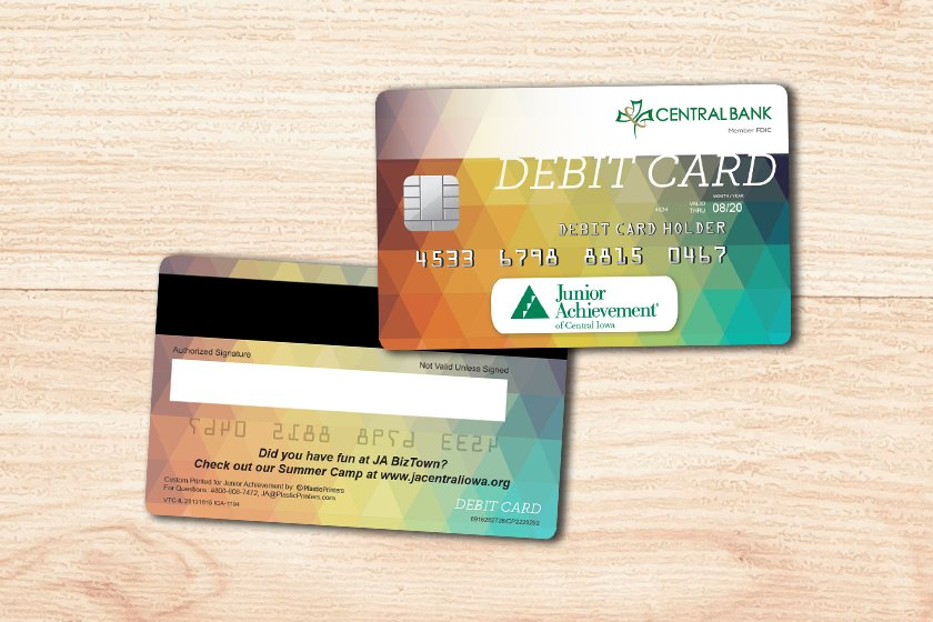Junior Achievement Sample Debit Card with Writable Back Embossed Numbers, and Signature Panel