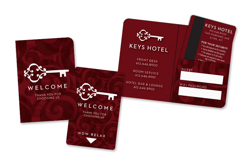 Custom Hotel Key Cards with Magnetic Stripes and a Key Card Holder