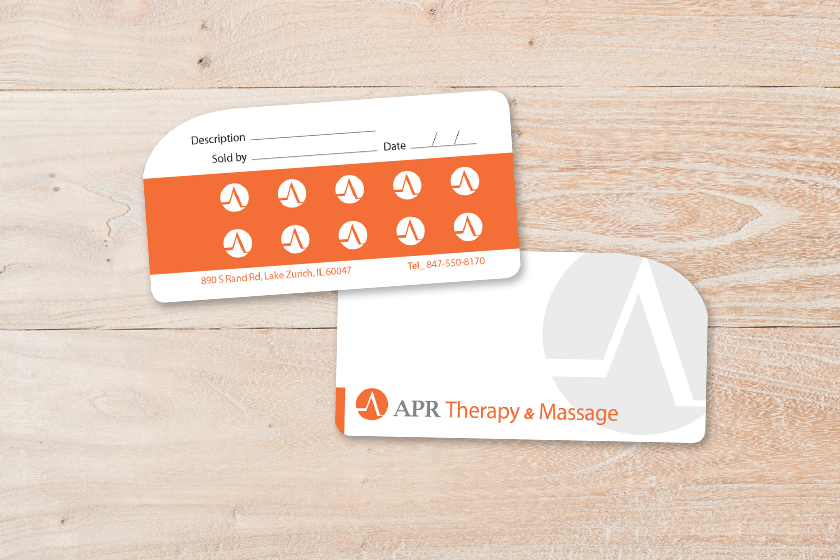 Die Cut Plastic Punch Cards for APR Therapy & Massage
