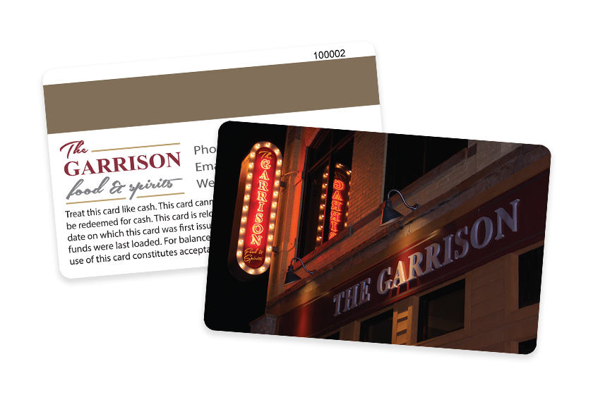Custom Gift Card with Magnetic Stripes - The Garrison Food and Spirits