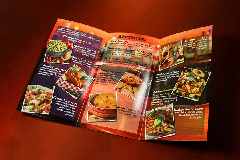 Image result for printed restaurant menus from DFW Printing Company