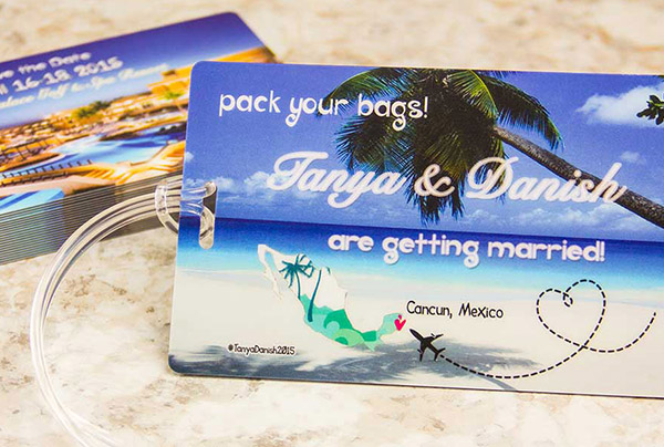 Example of Custom Plastic Luggage Tag for Destination Wedding