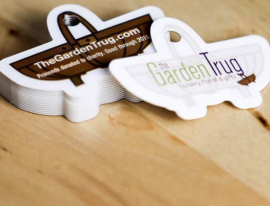Custom shapes die cut business cards plastic printers inc the garden trug created their own custom shaped cards to look like a garden basket reheart Choice Image
