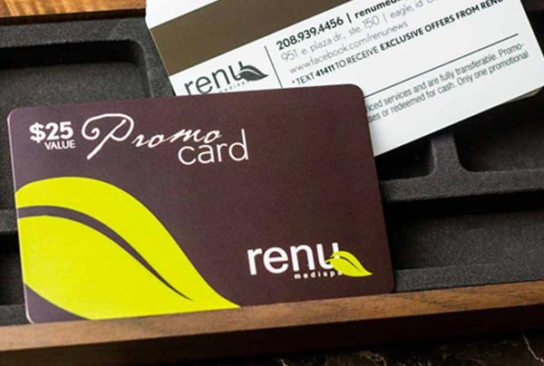 Example of rewarding customers with discount cards