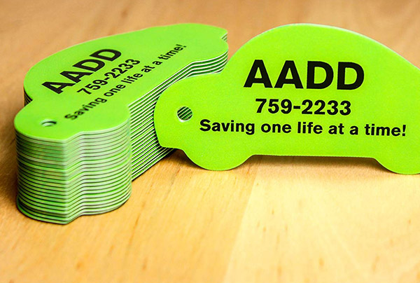 Example of Die Cut Key Tag Card by Plastic Printers, Inc.