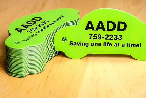 Example of Die Cut Key Tag Card by Plastic Printers, Inc.