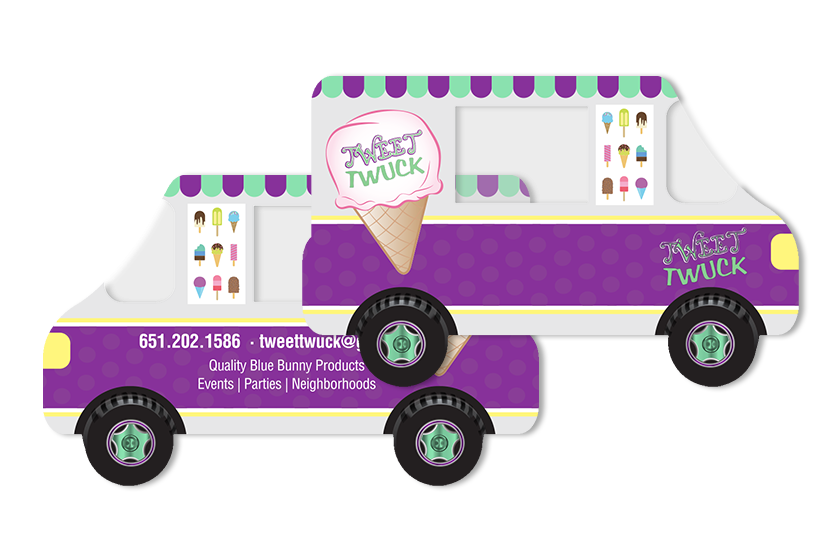 Clear Ice Cream Truck Shaped Die Cut Business Cards