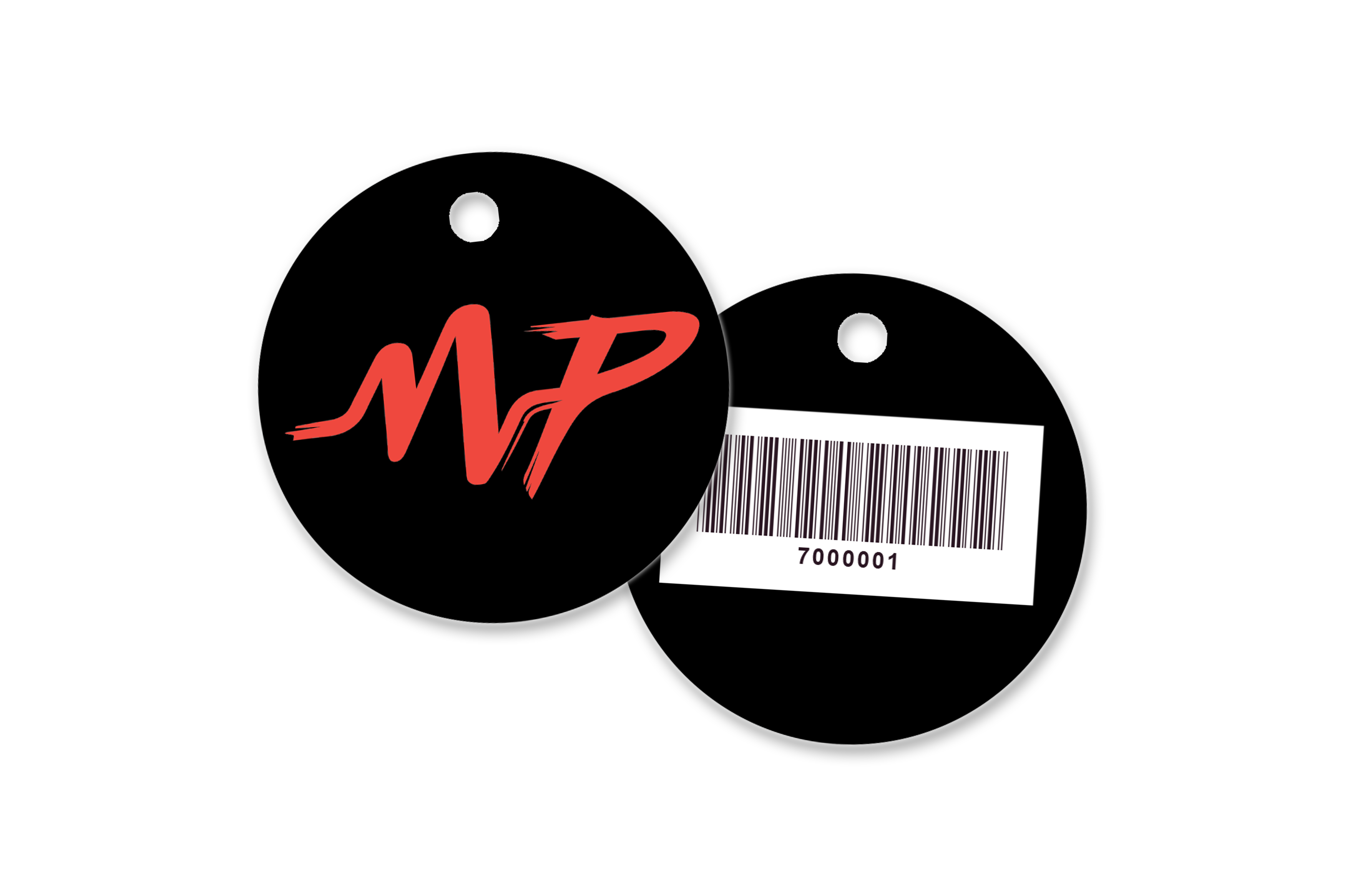 Round key tags with a barcode