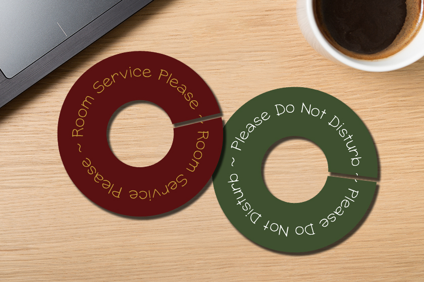Custom door hangers in a custom shape - circle