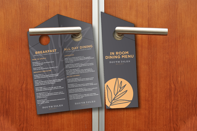 Hotel door hangers with a menu inside