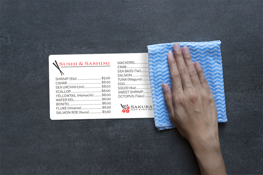 Washable menus from Plastic Printers