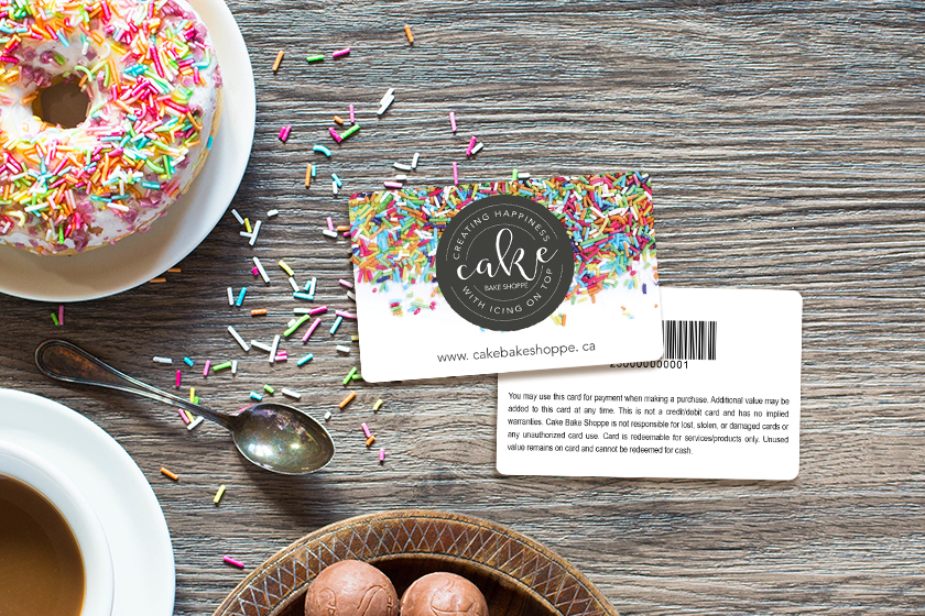 Custom gift cards with barcode for a bakery