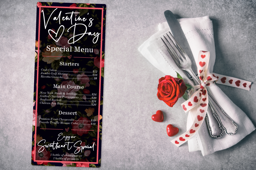 Specialty Menus for Valentine's Day