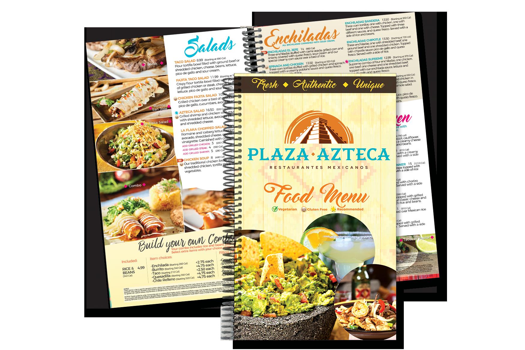 Restaurant Menu Design for Mexican Restaurants - Spiral Binding